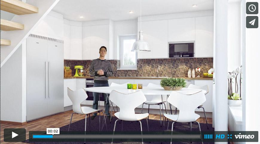 3d Kök med inlagd person