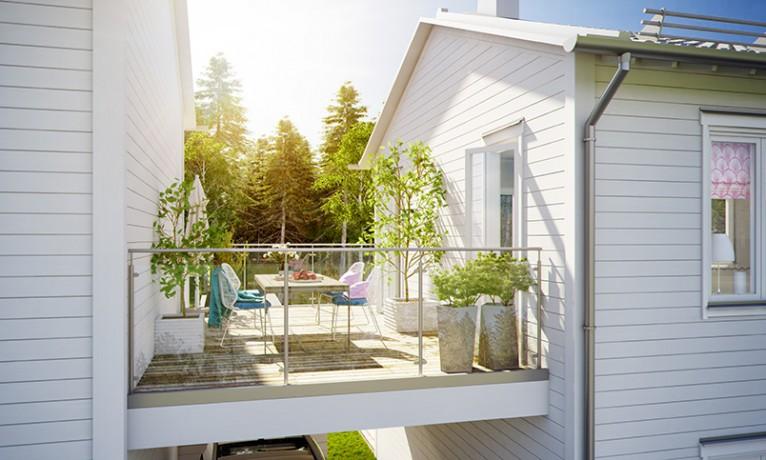 3d visualisering av balkong