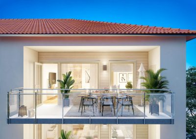 3d visualisering arkitektur balkong