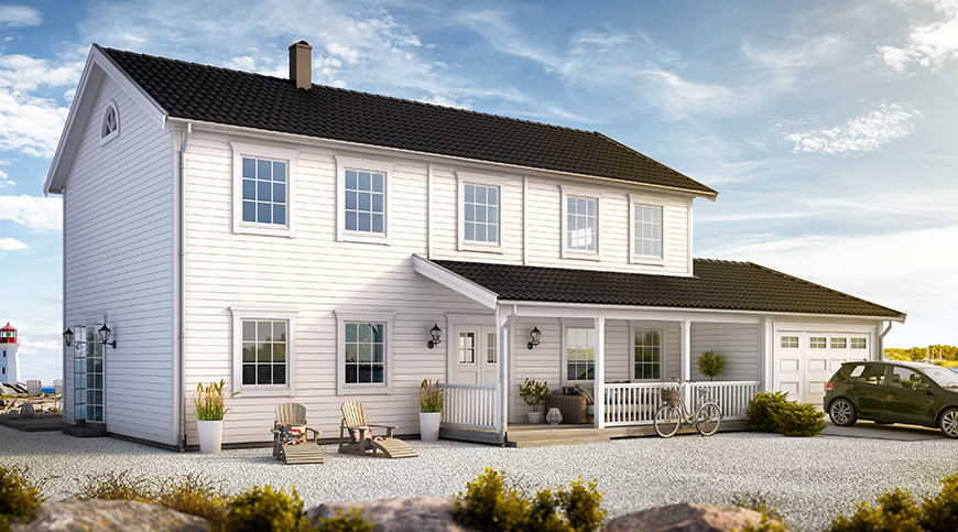 New England 3D Visualisering – Seaside house